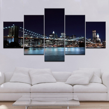 Canvas HD Prints Pictures Framework 5 Pieces Brooklyn Bridge City Night View Paintings Home Wall Art Decor Posters Artwork