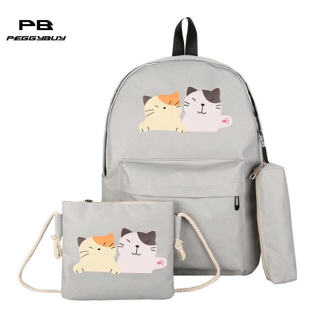 57d93e39da92 PB Peggybuy Women Backpack Cat Print Canvas School Bags For Teenager Girls  Preppy Style Travel Rucksack Cute Book Bag Mochila