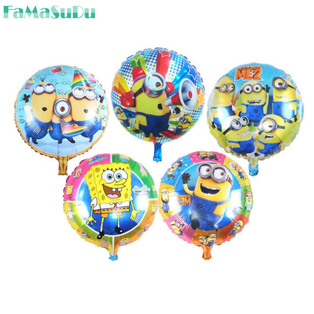 5 pcs/lot 18 inch round minion balloon for children birthday party decoration Foil helium balloon yellow man cartoon air globos