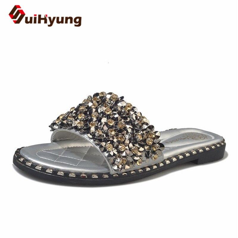 Suihyung New Fashion Women PU Leather Slippers Brilliant Sequins Rhinestones Woman Summer Beach Flip Flops Sandals Ladies Flats