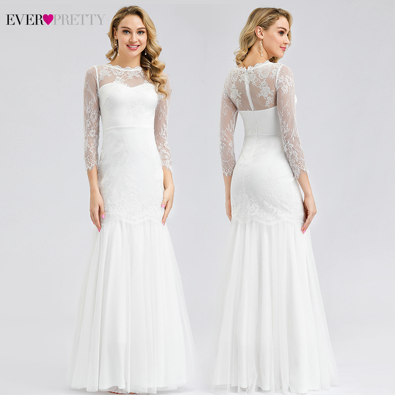 Robe De Mariage Sirene Ever Pretty White Lace Wedding Dresses O-Neck 3/4 Sleeve Zipper Elegant Mermaid Bride Dresses Gelinlik
