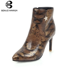 BONJOMARISA New Mature mixed-color Ankle Boots Women 2019 Add Fur Autumn Winter Plus Size 31-47 High Heels Shoes Woman