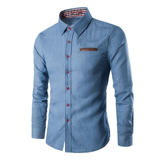 17ea81e2ab7 2018 Fashion Brand Mens Shirt Long Sleeve Slim Fit Business Dress Shirts  Casual Wedding Blue Denim Male Shirts Camisa Masculina
