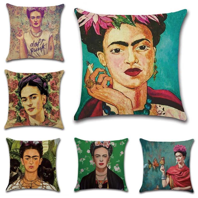 1Pc Vintage Pillow Case Mexico Painter Printed Cotton Linen Cushion Cover Pillow Case Home Sofa Decoration A35