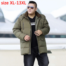 Новое поступление мужчин с капюшоном Мода супер большой бюст 185 см Повседневная ожирением пуховик плотная верхняя одежда Большие размеры XL-12XL13XL 148