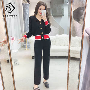 Image 1 - Cardigan tricoté à col en v massif pour femmes, ensembles de mode pour femmes, pull à boutons et pantalon 2019, S88107Y, automne nouveauté