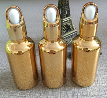 50ml essentical oil glass dropper bottle w golden plated makeup container refillable cosmetics bottles packaging wholesale