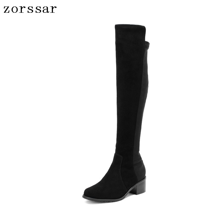 {Zorssar} fashion Suede Women High Boots nubuck Leather Square High heel Over The Knee Stretch Boots Women snow boots Winter{Zorssar} fashion Suede Women High Boots nubuck Leather Square High heel Over The Knee Stretch Boots Women snow boots Winter