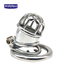 FRRK 304 Stainless Steel Chastity Belt Lockable Penis Cage Cock Ring and Male Device With Urethral Catheter Adult Game