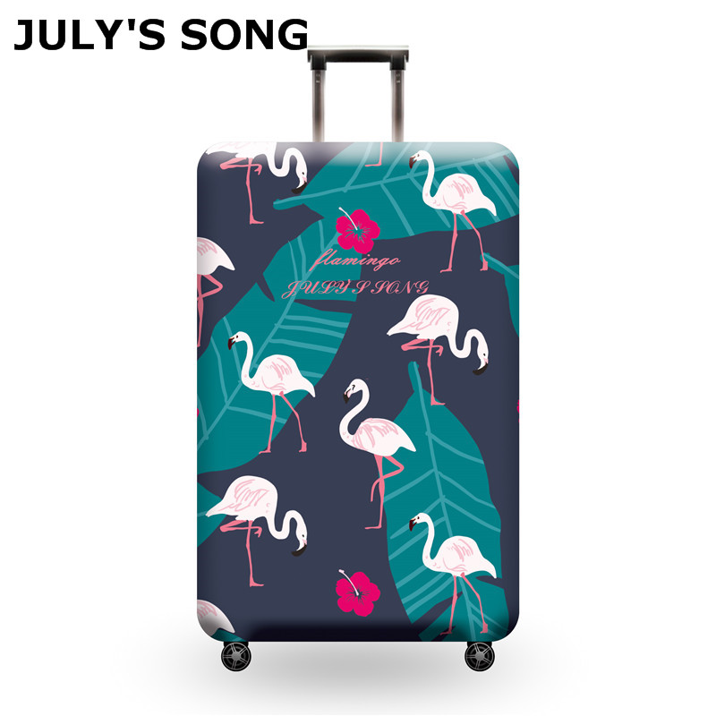JULY'S SONG Flamingo Suitcase Elastic Protective Cover Luggage Cover Travel Accessories 18-32 Inch Travel Trolley Suitcase Case