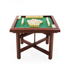 Odoria 1:12 Miniature Chinese Mahjong and Wooden Table Set Dollhouse Decoration Accessories