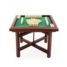 Odoria 1:12 miniatura chinês mahjong e mesa de madeira conjunto casa de bonecas decoração acessórios