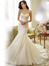 Free Shipping Lebanese Style Discount Mermaid Sweetheart Sweep Train Organza Lace Up Back Wedding Dress With
