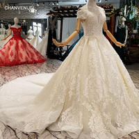 LS365414 elegant princess wedding dress with beaded collar chain off the shoulder sweetheart long train champagne wedding gown