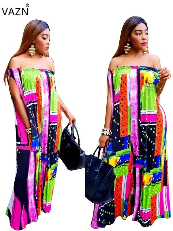 VAZN 2018 New Reduction of age Fashion High Quality Women   Jumpsuits   Retro Slash Neck Short Sleeve Lady Loose Romper LGC9459