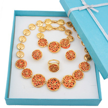 African hollow out pattern Enamel Necklace and earrings sets 18k gold plated jewelry sets floral enamel hollow out pendant necklace