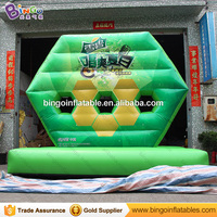 High quality 3.8X1.9X3.3M PVC inflatable football shooting games for kids hot sale soccer goal kick soccer game outdoor toys