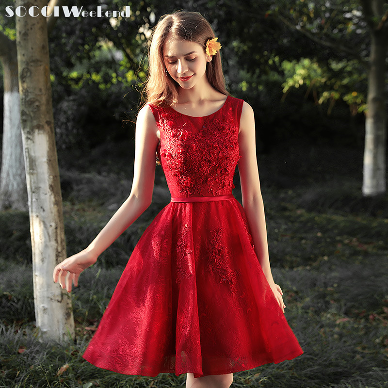 SOCCI Weekend Sweet   Cocktail     Dresses   2019 New Short Top Applique Flower Lace Formal Wedding Party   Dress   Slim Belt Red Prom Gowns