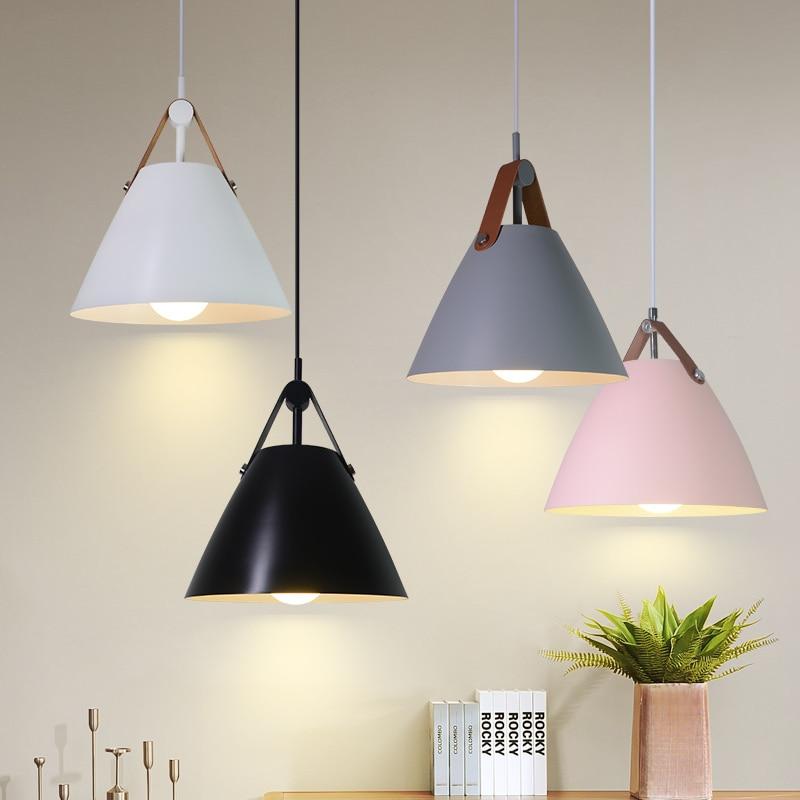 Nordic E27 Pendant Lighting Led Lustre Hanging Light Aluminum lampshade hanglamp suspension luminaire for Kitchen Shop Bedroom