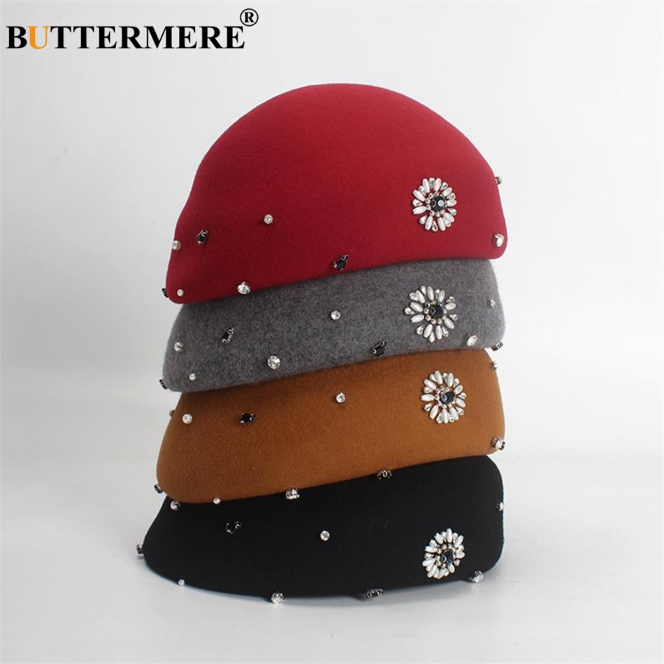 BUTTERMERE Ladies Pillbox Hats Winter Female Beret 100% Wool Women French  Beret Hat Black Beading Designer Stewardess Hat-in Berets from Women s  Clothing ... 4ab858311459