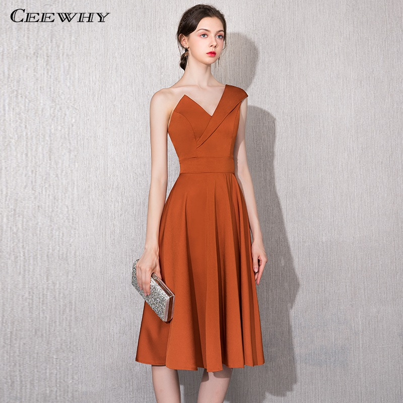 CEEWHY One Shoulder Short   Evening     Dress   Mother of the Bride   Dresses   Tea Length Formal   Dress     Evening   Gown Robe de Soiree Courte