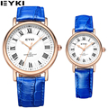 EYKI New Design de Moda Vintage Casais Banda Cavalheiros De Couro Azul Relógio De Pulso De Luxo Relógios de Quartzo Por Atacado Relojes Mujer