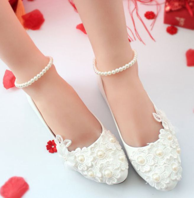Bridal wedding shoes handmade plus size low high heel ankle beading elastic straps bridesmaid brides parties white ivory shoes bow wedding shoes brides pumps shoes ankle beading pearls straps tg257 comfortable low high heels bridal shoes white with bowtie