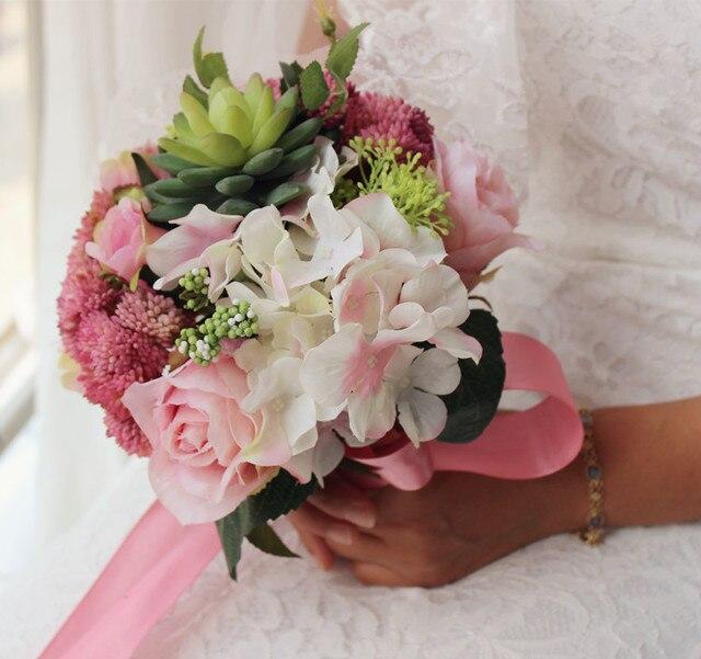 2017 Дешевые Свадебные/Невесты Букеты Новый Белый Красочный Люкс Ручной Работы Искусственный Кот Букет де mariage рамо де-ла-бода