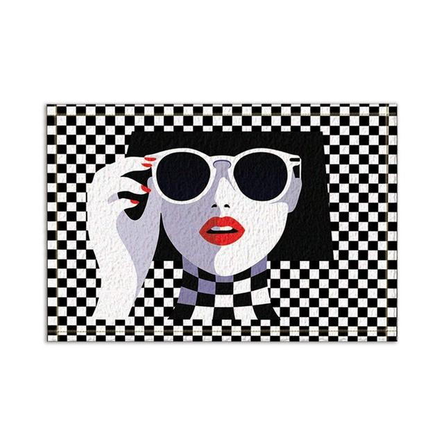 Modern Shower Curtain Fashion Sexy Teen Girl With Sunglasses Mosaic Decor Art Pattern Non-Slip Door Mat,Bath Mat Bathroom Rugs