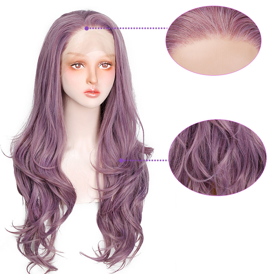 Aisi Hair Synthetic Lace Front Wigs Long Wavy Purple Lace