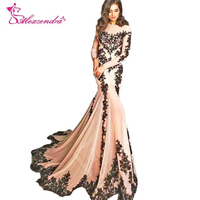f64384299b74 Alexzendra Champagne Mermaid Evening Dress with Long Sleeves Modest Black  Lace Prom Dresses Plus Size Special