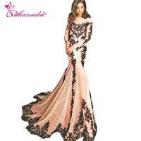 Alexzendra Champagne Mermaid Evening Dress with Long Sleeves Modest Black Lace Prom Dresses Plus Size Special Party Dresses