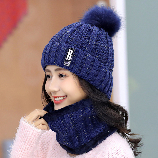 Girls Winter Knitted Beanies Hat Set 3