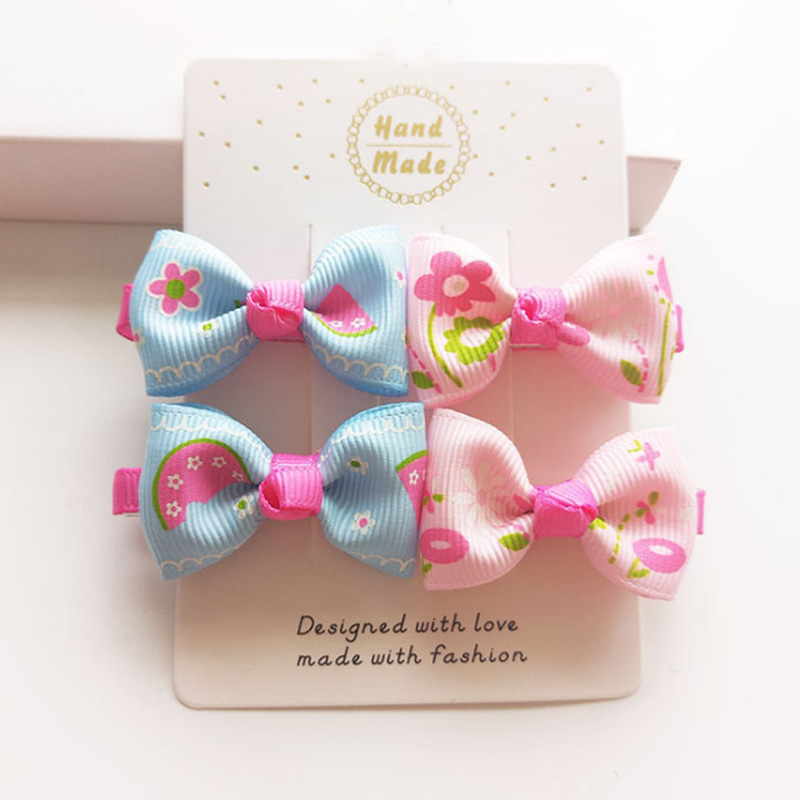 LNRRABC 4pcs/lot Cute Mini Bow Hairpin Hair Clip Print Ribbon Girls Headwear Children's Hair Accessories Wholesale 2 pcs lot 4 high quality pearl hair bow for girls sweet cute hair clips rhinestone ribbon diy fashion headwear