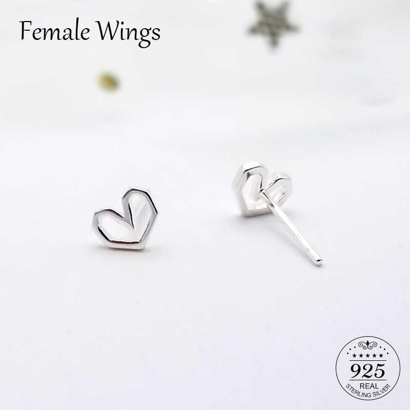 ff9719f7f Female Wings 925 Sterling Silver Stud Earrings for Women Heart Ear Studs  Earings Silver Bar Studs