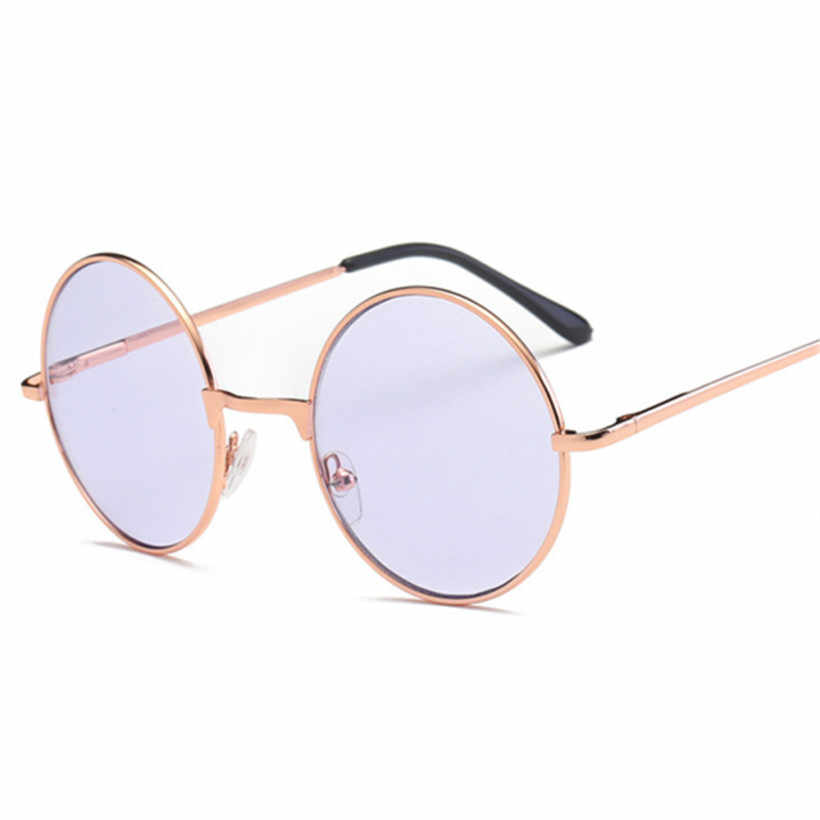 19e63163d63 NYWOOH Women Men Round Sunglasses Vintage Metal Frame Sun Glasses for  Ladies Shades Pink Tinted Eyewear UV400