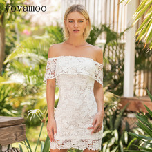 Yovamoo White Lace Dress Women Hollow Out Crochet Backless Bodycon Off The Shoulder Wrap Dresses 2018 Summer Clothes off the shoulder hollow out lace skinny slimming dress