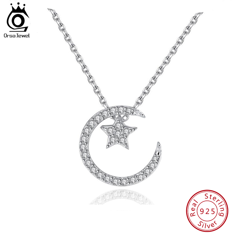 ORSA JEWELS 925 Sterling Silver Moon Star Pendant Necklaces with Austrian Crystal for Women 4 Ways to Wear Necklace Gifts SN06