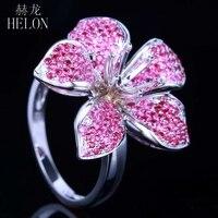 HELON 6mm Round Solid 10K White Gold Flower Shape Semi Mount 1.3CT Natrual Ruby & Diamonds Ring Engagement Wedding Gemstone Ring