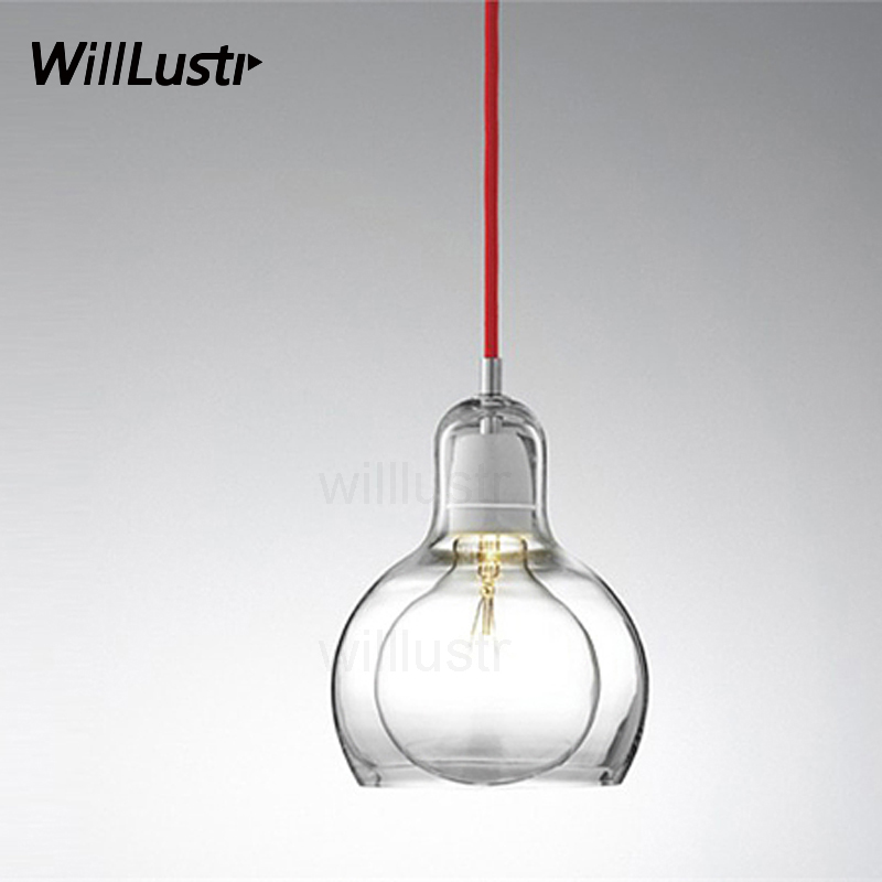 Mega Bulb Pendant Lamp Nordic Light Modern And Tradition Clear Amber Smoke Mouth Blown Glass Restaurant Kitchen Cafe Bar Lights
