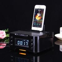 2017 Altavoz Bluetooth NFC carga Estación de Acoplamiento para el iphone y Android Con Reloj Despertador con Radio FM