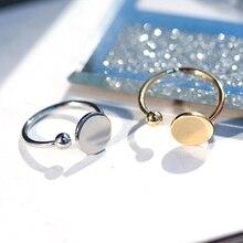 QCOOLJLY модное Золотое серебряное Открытое кольцо для женщин ANEL Бохо ювелирные изделия из нержавеющей стали геометрический круглый палец Bague Femme Свадебные Gi