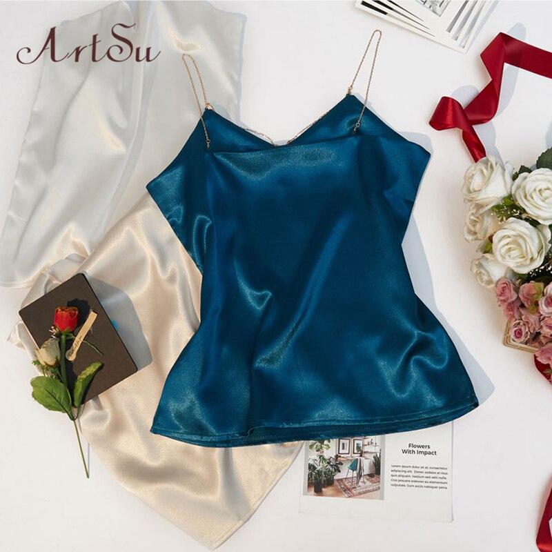 Image 5 - ArtSu/летний топ на цепочке, модный, без рукавов, пляжный, черный, белый, сатиновый Топ, сексуальная одежда, топ для фитнеса, Mujer ASVE20220-in Кроп-топы from Женская одежда on AliExpress