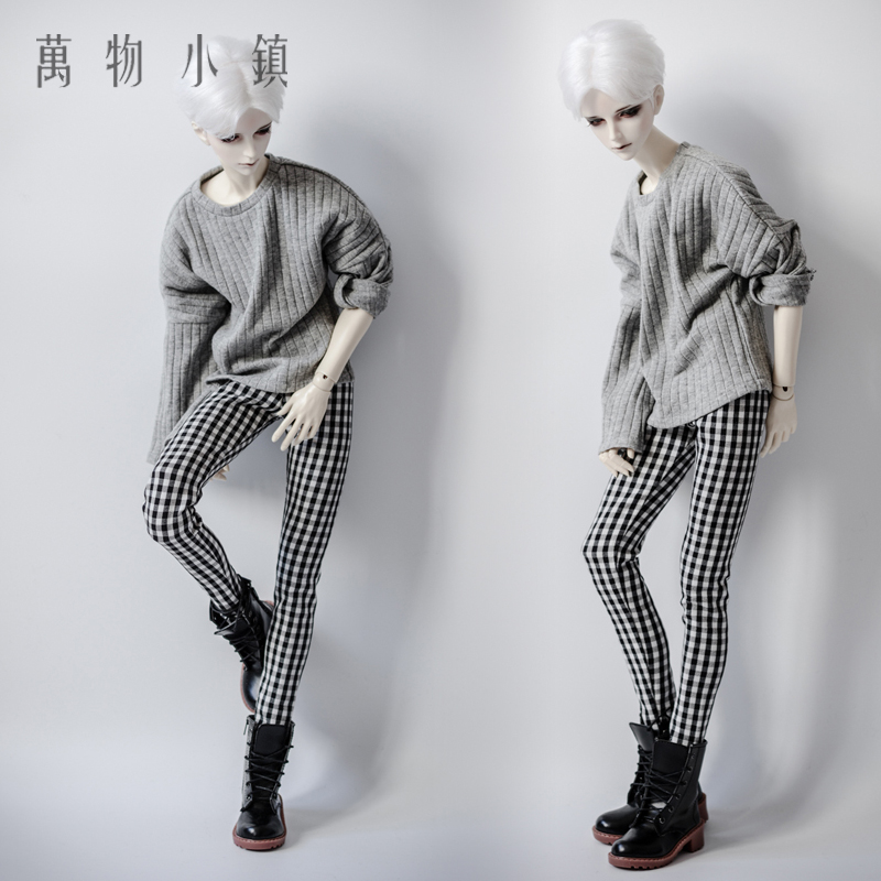 NEW Black White Lattices Trousers/Pants For 1/3 1/4 Boy SD MSD BJD Doll Clothes