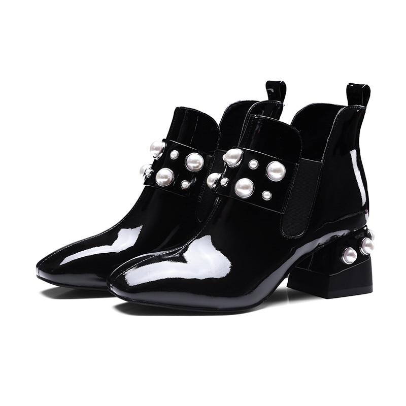 Mode Dicken Hochhackigen Paten Leder Faux Perle Chelsea Stiefel für Frauen  Große Größe 43 Stiefeletten Schuhe Frau Glitter Stiefel 2018 in Mode Dicken  ... 4c6f82db06