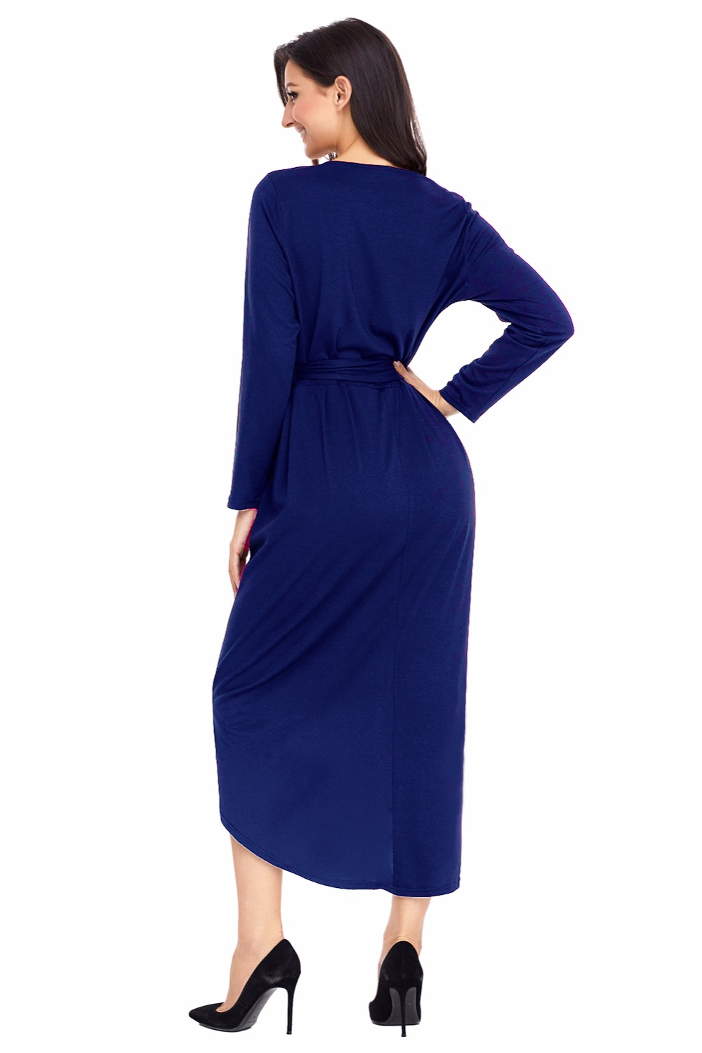 Autumn Plus Size S 2XL Dresses Women Office Navy Long Sleeve Tulip Faux  Wrap Sash Tie Slit Jersey Dresses Casual Vestidos Mujer-in Dresses from  Women s ... b9bf80c6a6ae