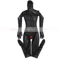 Черный сексуальный женский латексный комбинезон с презервативами полное покрытие боди зентай с 3D груди S LC194