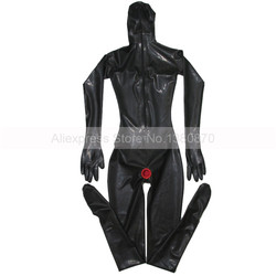 Black Sexy Female Latex Catsuit with Condoms Full Cover Bodysuit Zentai with 3D Chest S-LC194