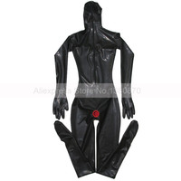 Black Sexy Female Latex Catsuit with Condoms Full Cover Bodysuit Zentai with 3D Chest S LC194