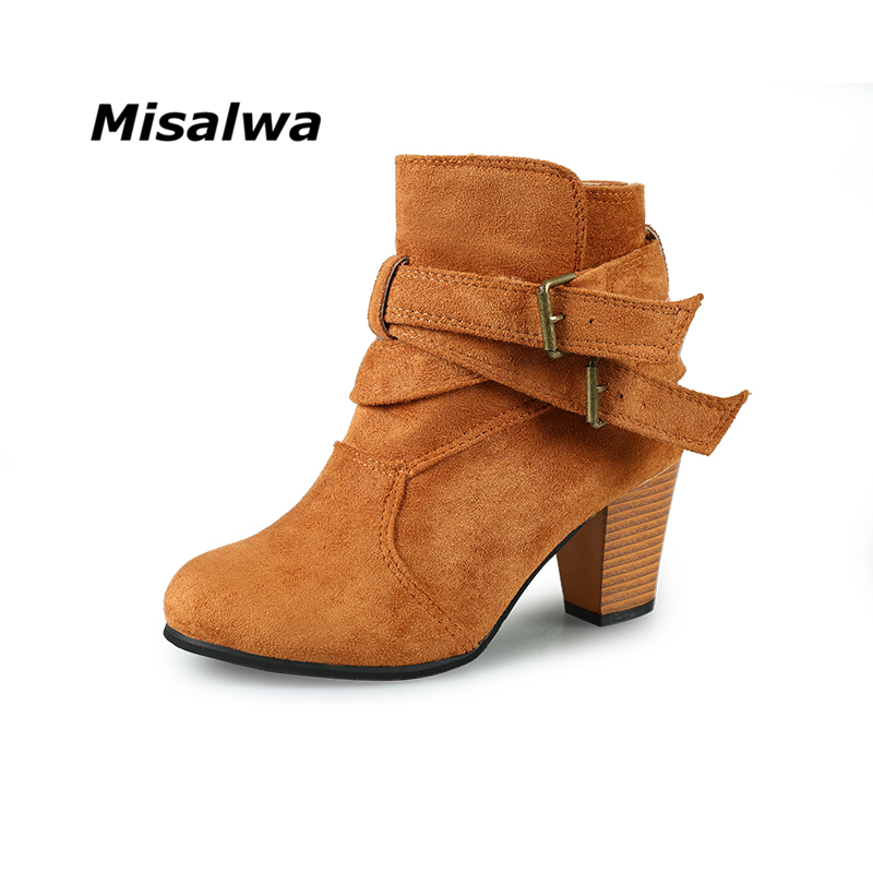 Misalwa 2018 Autumn Winter Boots New Thick With Women Shoes Europe Short Tube Boots For Girls Warm Snow Boots Big Size 8.5